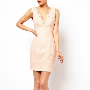 ASOS pink scalloped lace dress